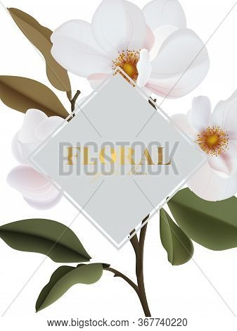 Realistic Magnolia Floral And Gold Set Isolated Wedding Arrangement Of Big White Wild Roses, Buds, L