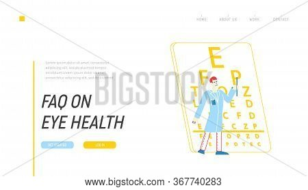 Medical Optician Check Up In Hospital Landing Page Template. Ophthalmologist Doctor Character Test M