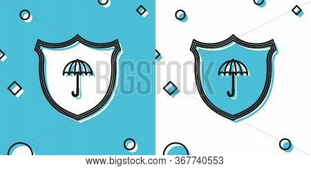 Black Waterproof Icon Isolated On Blue And White Background. Shield And Umbrella. Water Protection S