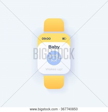 Baby Bedtime End Smartwatch Interface Vector Template. Mobile App Notification Night Mode Design. Ch