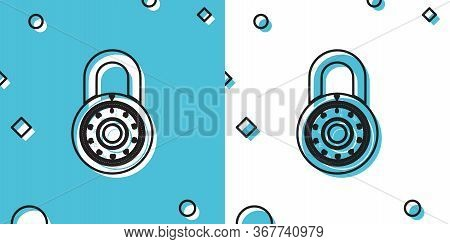 Black Safe Combination Lock Wheel Icon Isolated On Blue And White Background. Combination Padlock. P