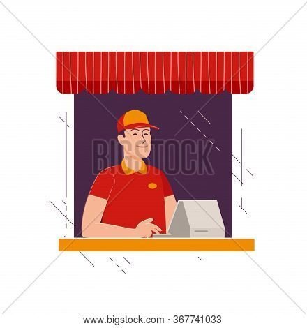 Happy Seller At Checkout In Store. Business, Shop Vector Illustration