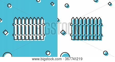 Black Fence Wooden Icon Isolated On Blue And White Background. Garden Fence Sign. Random Dynamic Sha