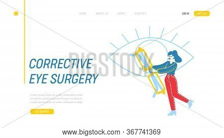 Patient At Doctor Oculist Ophthalmologist Appointment Landing Page Template. Tiny Female Character C
