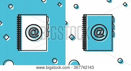 Black Address Book Icon Isolated On Blue And White Background. Notebook, Address, Contact, Directory