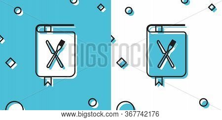 Black Cookbook Icon Isolated On Blue And White Background. Cooking Book Icon. Recipe Book. Fork And