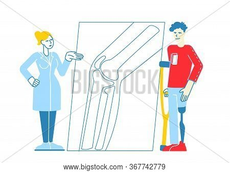 Invalid Handicapped Man Character Standing On Crutches With Prosthesis On Leg Visiting Orthopedy Cli
