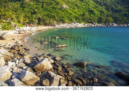 Nui Beach Or The Hidden Paradise Beach In Phuket, The Sea Is Emerald Green Color