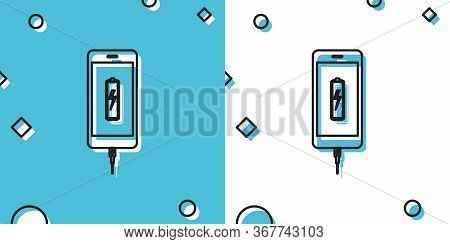 Black Smartphone Battery Charge Icon Isolated On Blue And White Background. Phone With A Low Battery