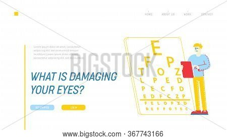Myopia Or Nearsightedness Diseases Of Eye And Optical System Landing Page Template. Sad Male Charact