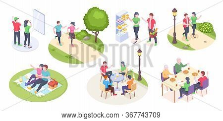 Couple Daily Life And Outdoor Leisure Activity, Vector Isometric Man And Woman Time Together. Couple