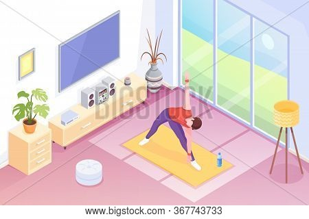 Yoga At Home, Man Doing Exercise In Room, Vector Isometric Illustration. Yoga Sport And Stretch Work