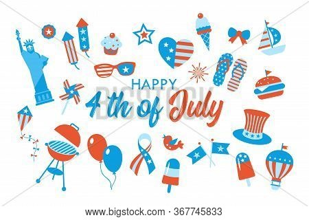 4th Of July, Independence Day Of The United States, Greeting Card Design. Flat Style Cartoon Vector