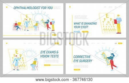 Professional Optician Exam Landing Page Template Set. Vision Treatment, . Ophthalmologist Doctor Cha
