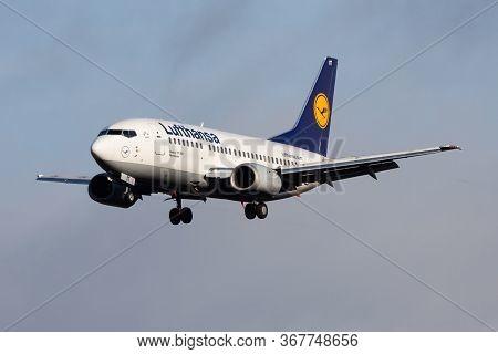 Frankfurt / Germany - December 4, 2012: Lufthansa Boeing 737-500 D-abit Passenger Plane Landing At F