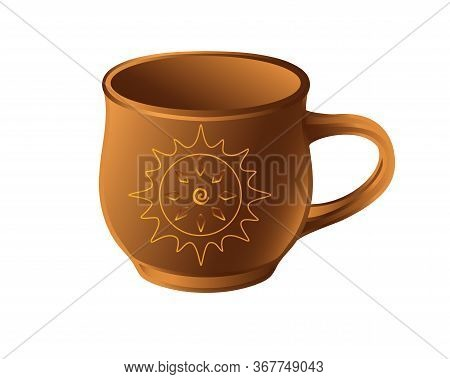 A Cup Is A Pottery Folk Product. A Small Ceramic Cup With A Sun Pattern - Vector Full Color Picture.