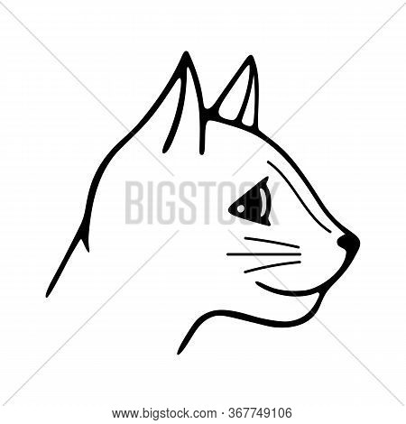 Hand-drawn Vector Illustration. Cute Doodle Head Cat Black Line On A White Background