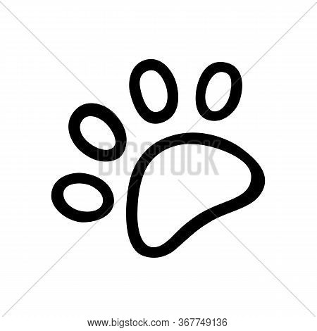 Cat Paw Hand-drawn. Vector Doodle Illustration Black Outline On A White Background
