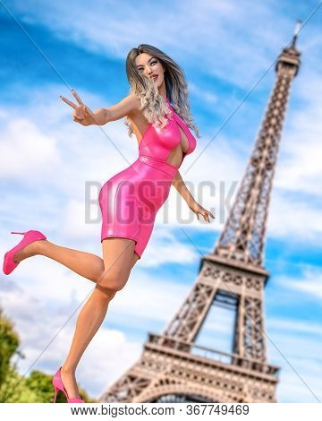 Beautiful Woman In Short Evening Dress Eiffel Tower In Paris