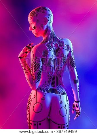 Robot Woman. White Metal Droid. Android Girl. Artificial Intelligence. Conceptual Fashion Art. Reali