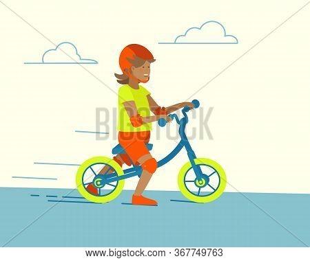 Cartoon Balance Bike Child Running For Lifestyle Design. Happy Childhood, Active Recreation. Cartoon