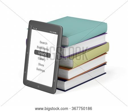 Stack Of Colorful Books And E-book Reader On White Background, 3d Illustration