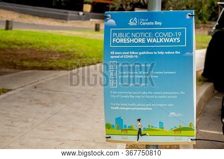 Sydney, Australia 2020-05-24 Public Notice From Canada Bay City Council In A Public Park In Nsw, Aus