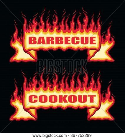 Barbecue Cookout Fire Flame Banner Straight Scroll Is An Illustration Of A Straight Scroll Flaming F