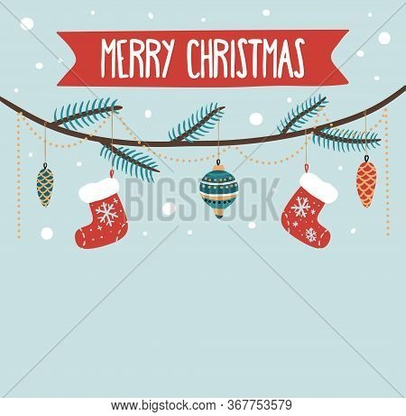 Merry Christmas Greeting Card With Decorations On Twig