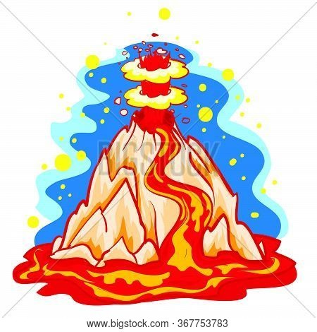Cartoon Illustration, Lava Spewing Volcano, Isolated Object On White Background, Vector Illustration