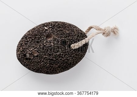 Pumice Stone On White Background. Home Heel Care.