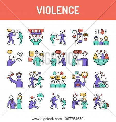 Violence Color Line Icons Set. Harassment, Social Abuse And Bullying. Signs For Web Page, Mobile App