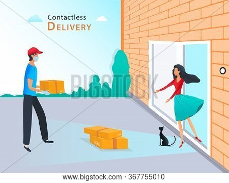 Contactless Delivery Service, Courier In Protective Mask And Medical Rubber Gloves Delivering Parcel