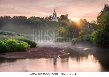Pink Morning On The River Istra And The Temple On The Hill