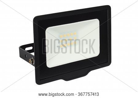 Black Led Floodlight Isolated On White Background