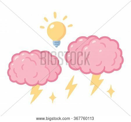 Brainstorm Drawing, Two Brains With Storm Lightning And Lightbulb. Group Brainstorming, Creative Pro