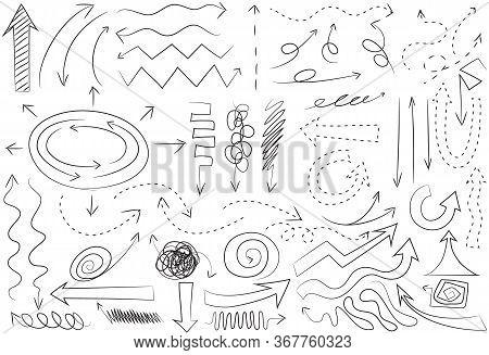 Arrow Hand Drawn Set Of Doodles Art Vector Line Art Illustration