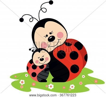 Scalable Vectorial Representing A Mum Ladybird Hugging Son Ladybird In Garden, Element For Design, I