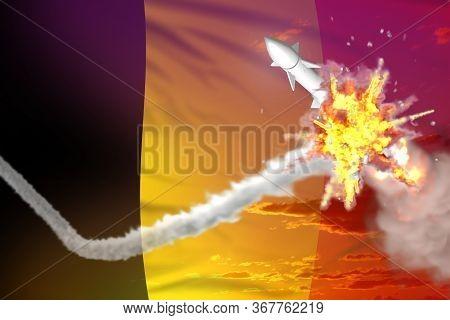 Strategic Rocket Destroyed In Air, Belgium Ballistic Missile Protection Concept - Missile Defense Mi