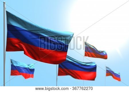 Wonderful 5 Flags Of Luhansk Peoples Republic Are Wave Against Blue Sky Picture With Bokeh - Any Fea