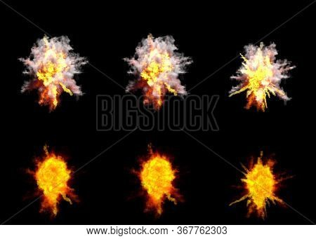 6 Round Explosions Of Antiaircraft Gun Shell Hit Or View From Top On Bang Or Rocket Interception Bla