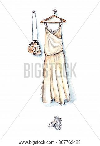 Hand-drawn Watercolor Illustration. A White Dress And A White Bag Hang On Clothes Hangers, And White