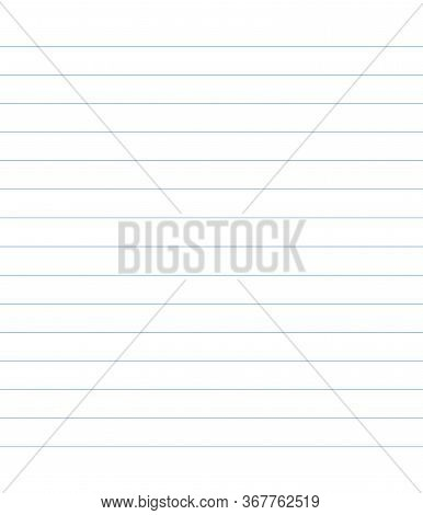 Blue Straight Line Notebook Sheet Vector Illustration. Wide Lined Table Template Background. Educati