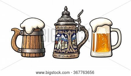 Vintage Colorful Set Of Beer Mugs. Old Wooden Mug. Traditional German Stein. Glass Mug With Foam. Ve