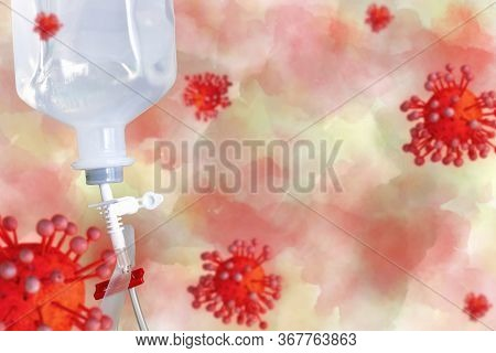 Sodium Chloride Or Saline Solution Fluid Iv Irrigation Transparent Drip Bag And Tubing With Concept