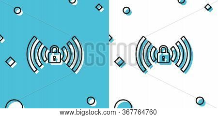 Black Wifi Locked Sign Icon Isolated On Blue And White Background. Password Wi-fi Symbol. Wireless N