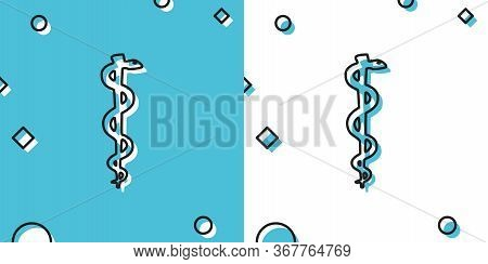 Black Rod Of Asclepius Snake Coiled Up Silhouette Icon Isolated On Blue And White Background. Emblem