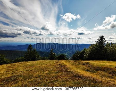 Outlook From The Trehkopf View Point Over The Hills Of The Vosges Region, France