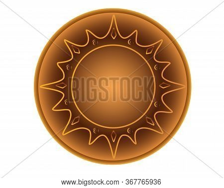 Plate Is A Pottery Folk Product. A Small Ceramic Plate With A Pattern In The Form Of The Sun - A Vec