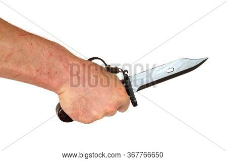 Hand With Scratches Holding A Hunter's Knife The Hand And Knife, Isolated On White Background